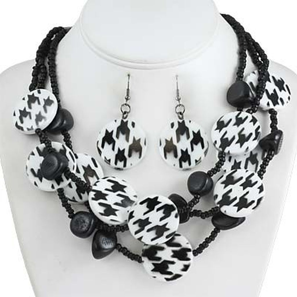 White Tiger Skin Print Wood Bead Three Layers Necklace Earrings Set
