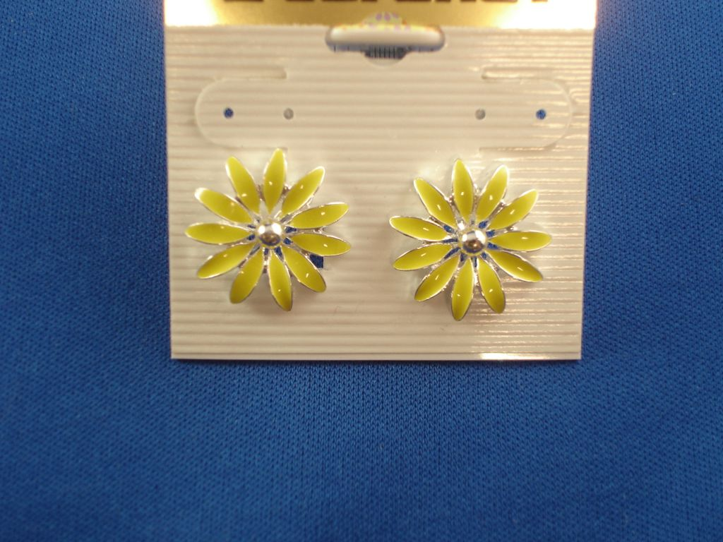 Yellow Flower Clip Earrings, Silver Tone Anti-allergic Metal
