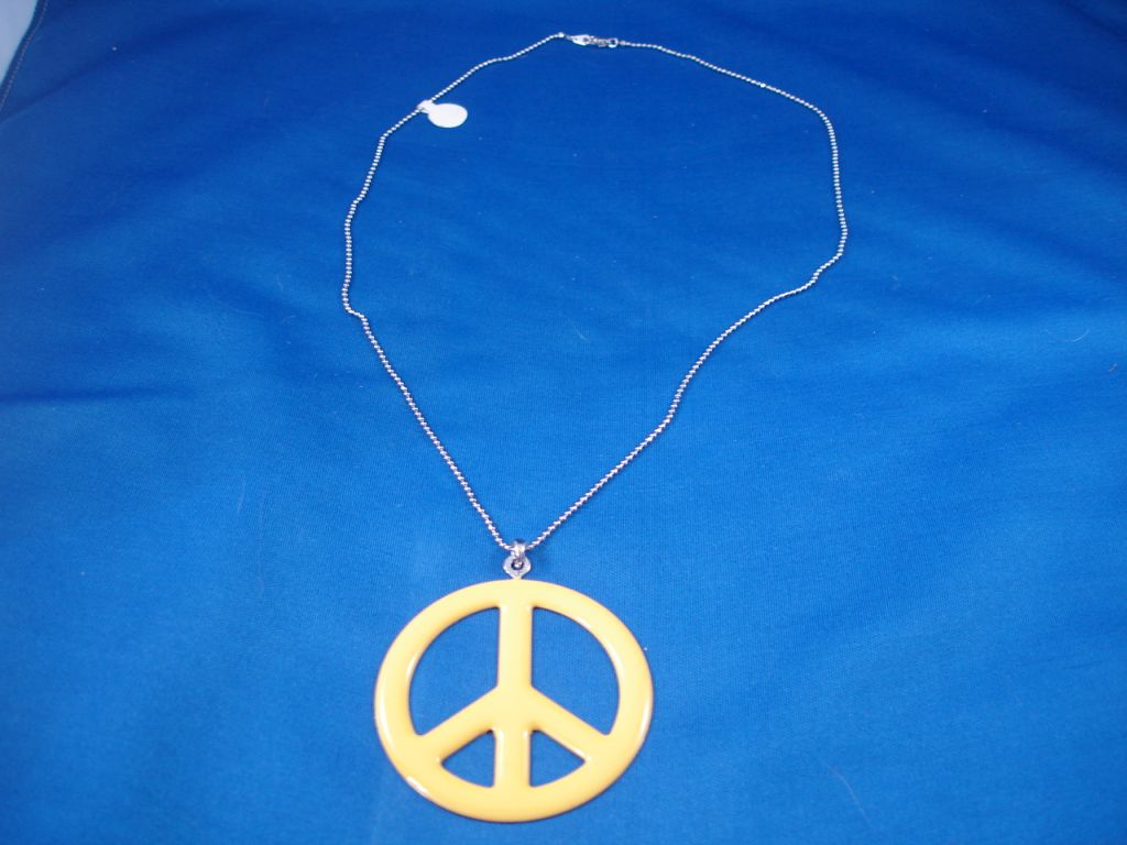 Yellow Peace Necklace, Fashion Jewelry