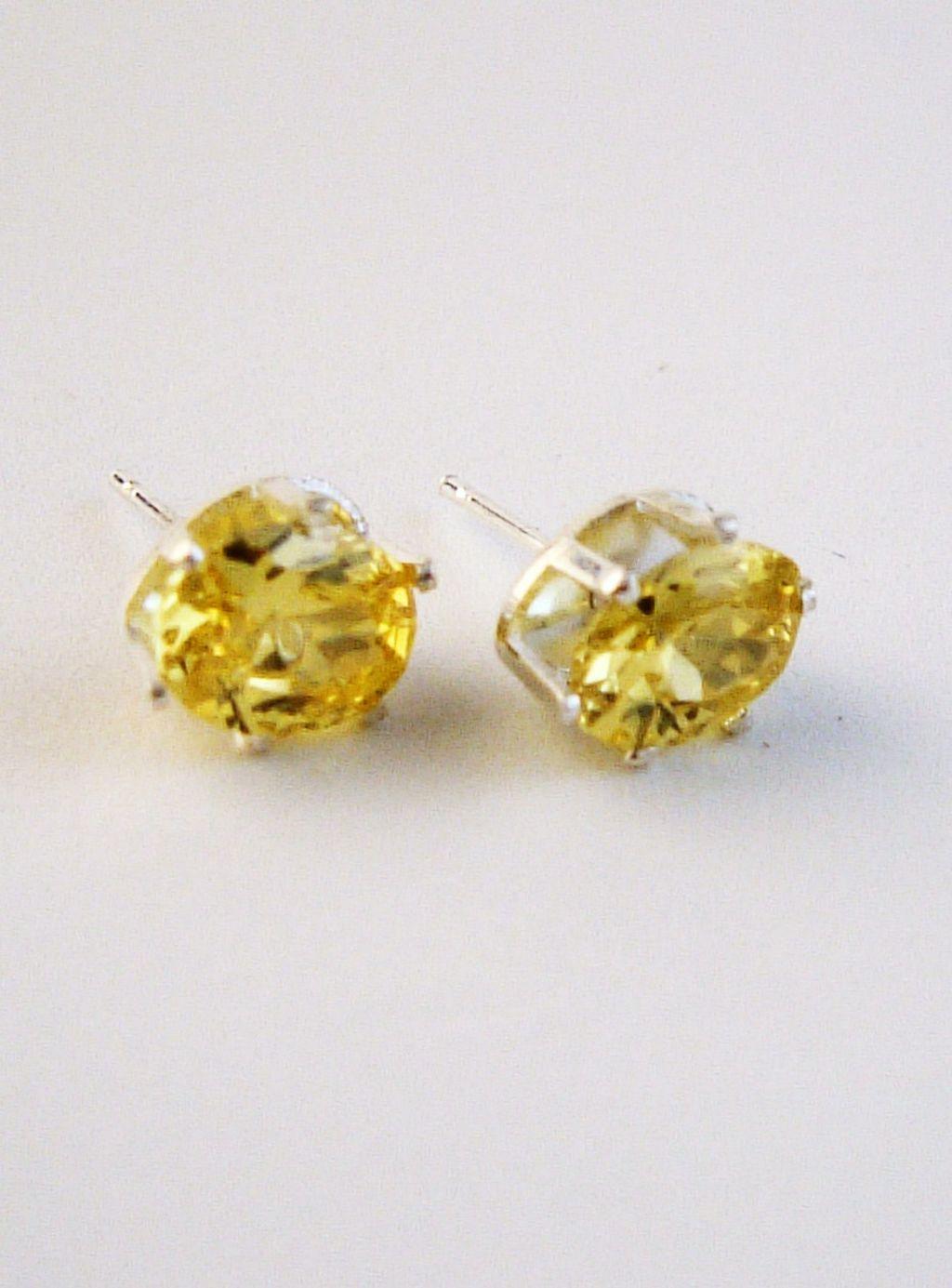 Yellow Sapphire Oval Cut Silver Stud Earrings Genuine Cz