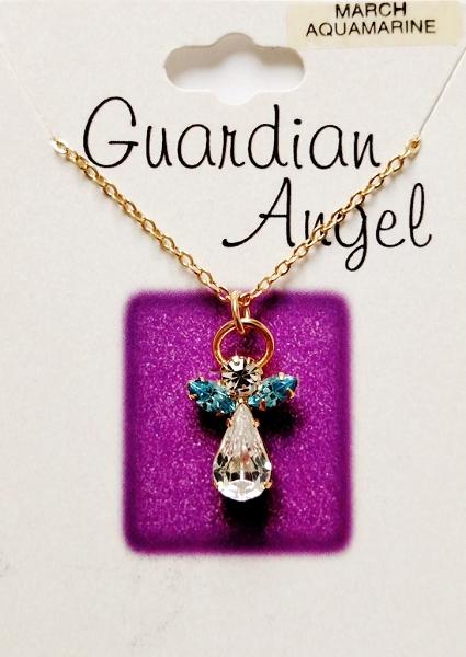 Aquamarine march birthstone guardian angel pendant necklace genuine quick view aloadofball Choice Image