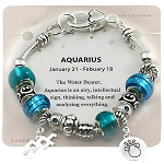 Aquarius Zodiac Sign Charm Bracelet, Pandora Inspired Beads