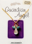 Blue Zircon-December Birthstone Guardian Angel Pendant Necklace, Genuine Austrian Crystals