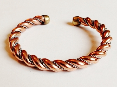Copper Cuff Adjustable Bracelet Two Tone Thick Twisted Wire
