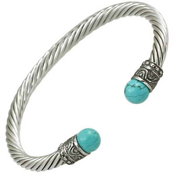 Designer`s Touch Bracelet Turquoise Vintage Cuffs Twisted Wire Cable