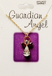 Garnet-January Birthstone Guardian Angel Pendant Necklace, Genuine Austrian Crystals