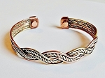 Magnetic Copper Cuff Adjustable Bracelet Two-tone Double Twisted Rope, Arthritis Natural Cure
