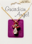 Rose Zircon-October Birthstone Guardian Angel Pendant Necklace, Genuine Austrian Crystals