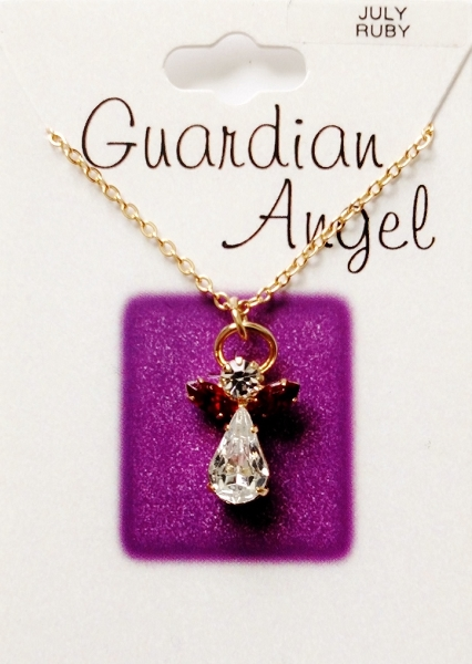Ruby July Birthstone Guardian Angel Pendant Necklace