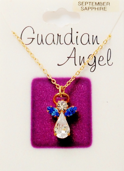Sapphire September Birthstone Guardian Angel Pendant