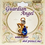 Sapphire-September Birthstone Guardian Angel Pin, Genuine Austrian Crystals