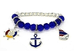 Silver/Blue Tone Naval Sailing Chain Bracelet, Anchor Wheel Ship Charms, Nautical Jewelry