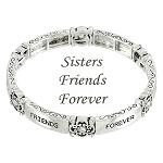 Sisters Friends Forever Inspirational Message Bracelet Silver Plated