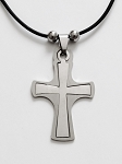 Stainless Tone Double Cross Pendant Beach Necklace Mens Unisex