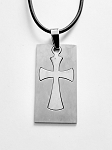 Stainless Tone Double Cross Pendant Beach Necklace Mens Unisex Jewelry