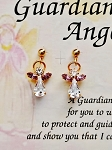 Alexandrite-June Birthstone Guardian Angel Post Earrings, Genuine Austrian Crystals