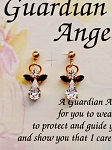 Amethyst-February Birthstone Guardian Angel Post Earrings, Genuine Austrian Crystals