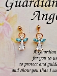 Aquamarine-March Birthstone Guardian Angel Post Earrings, Genuine Austrian Crystals