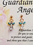 Blue Zircon-December Birthstone Guardian Angel Post Earrings, Genuine Austrian Crystals
