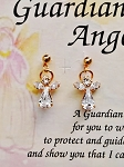 Crystal-April Birthstone Guardian Angel Post Earrings, Genuine Austrian Crystals