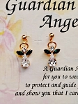 Emerald-May Birthstone Guardian Angel Post Earrings, Genuine Austrian Crystals