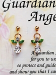 Peridot-August Birthstone Guardian Angel Post Earrings, Genuine Austrian Crystals