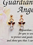 Ruby-July Birthstone Guardian Angel Post Earrings, Genuine Austrian Crystals