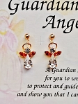 Topaz-November Birthstone Guardian Angel Post Earrings, Genuine Austrian Crystals