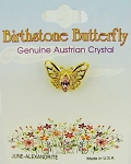 Alexandrite-June Birthstone Butterfly Pin Gold Tone, Genuine Austrian Crystal