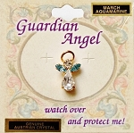 Aquamarine-March Birthstone Guardian Angel Pin, Genuine Austrian Crystals