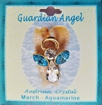 Large Aquamarine March Birthstone Guardian Angel Pin, Genuine Austrian Crystals