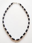Beach Hot Extreme Black & Chrome Men's Beaded Necklace, Surfer Style