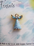 Blue Zircon Guardian Angel Pin, Genuine Austrian Crystals, Gold Tone
