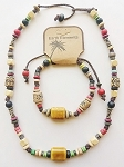 Cancun Beach Earth Elements Necklace Bracelet, Spiritual Beaded Surfer Men's Jewelry