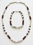 Cancun Beach Random Letters Men's Necklace Bracelet Beaded Brown Chrome, Surfer Style