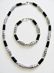 Cancun Hottest Chrome Extreme Black Men's Bead Necklace Bracelet, Beach Surfer Style