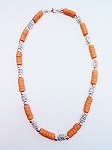 Cancun Voodoo Beaded Beach Necklace, Men's Surfer Style Rusty Brown Two-tone