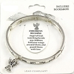 Children's Blessing Bracelet Inspirational Message Angel Charm Silver