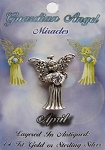 Vintage Silver Diamond-April Birthstone Guardian Angel Pin, Genuine Austrian Crystal