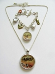Designer's Touch Love Forever Locket Necklace Bracelet Heart Charm Vintage Tri-tone