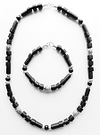 Doom Beach Beaded Necklace Bracelet Black, Men`s Surfer Style Jewelry
