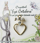 Eyeglasses Holder Pin Guardian Angel & Heart, Gold Tone Genuine Crystals
