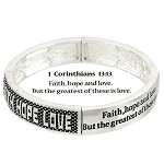 Faith Hope Love Bracelet 1 Corinthians 13:13 Inspirational Message, Silver