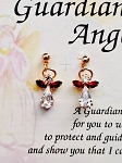 Garnet-January Birthstone Guardian Angel Post Earrings, Genuine Austrian Crystals