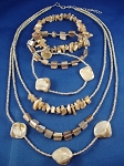 Genuine Mother-of-Pearl Sea Shells Necklace Bracelets Three Layers, Beige Beads