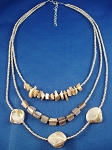 Genuine Mother-of-Pearl Sea Shells Necklace Three Layers, Beige Beads