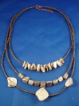Genuine Mother-of-Pearl Sea Shells Necklace Three Layers, Bronze Beads