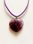 Genuine Purple Amethyst Heart Pendant Summer Beach Necklace