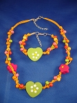 Girls Green Hearts Summer Yellow Necklace Bracelet, Non-Allergic Jewelry