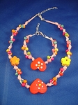 Girls Red Hearts Summer Pink Necklace Bracelet, Non-Allergic Jewelry